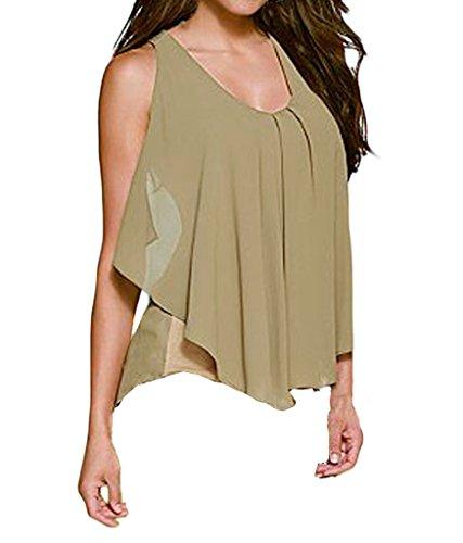 Shawhuwa Womens Sexy Chiffon Ruffle Front Sleeveless Tank Top M (Ruffle Front Shirt Dress)