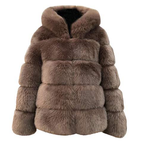 Épais À Capuche D hiver En Pour Fourrure A Femmes Furry Marron Manteaux  Occasionnels Fausse Fnkdor Veste ... c7be0b373a4