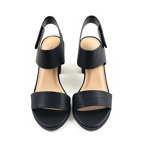 Soda Topshoeave Wait Womens Open Toe Chunky Heel Ankle Strap Shoes Block High Heel Dress Sandals (6.5 B(M) US, Black NBPU) by Soda (Image #3)