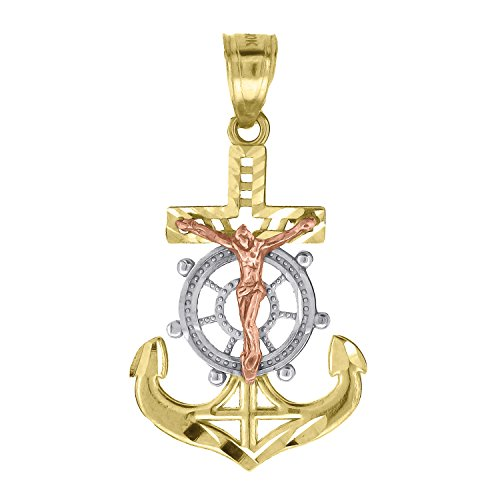 (Jewels By Lux 10kt Gold Tri-color Unisex Anchor Cross Crucifix Ht:29.8mm x W:16.3mm Religious Charm Pendant.)