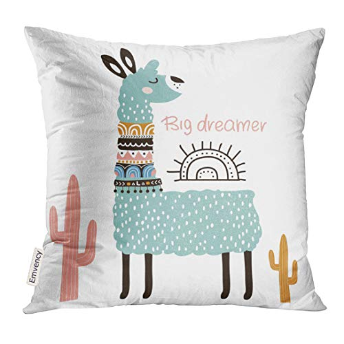 Emvency Throw Pillow Cover Cactus Cute Cartoon Llama Tribal Style Childish for Nursery Kids Apparel Summer Decorative Pillow Case Home Decor Square 20x20 Inches -