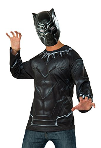 Black Panther Costume For Adults (Captain America: Civil War Black Panther Costume Top and Mask, Multi, Extra Large)