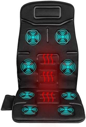 Naipo Back Massager Massage Chair Vibrating Car Seat Cushion for Back, Neck, and Thigh with 8 Motor Vibrations 4 Modes 3 Speed Heating at Home Office Car