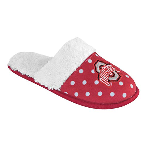 Women's Dotted Deluxe Comfort Fur Slipper Slides Pick Team - (Large 9-10, Ohio State Buckeyes)