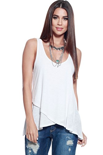 Alexander + David Womens Slub Tank Top Loose Double Layer Knit Trapeze Blouse