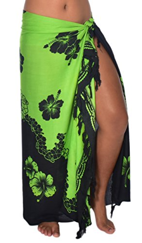 Casual Movements Women's Hibiscus Wave Swimsuit Coverup Lime/Black70