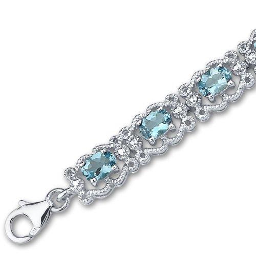 Swiss Blue Topaz Bracelet Sterling Silver 8.50 Carats Vintage Design by Peora (Image #2)