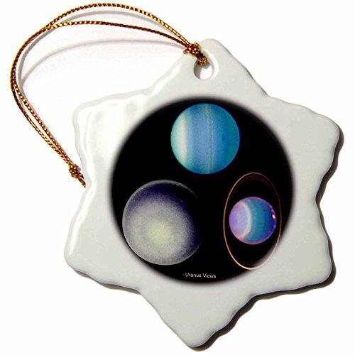 3dRose orn_76837_1 Solar System Uranus Views Snowflake Porcelain Ornament, 3-Inch by 3dRose