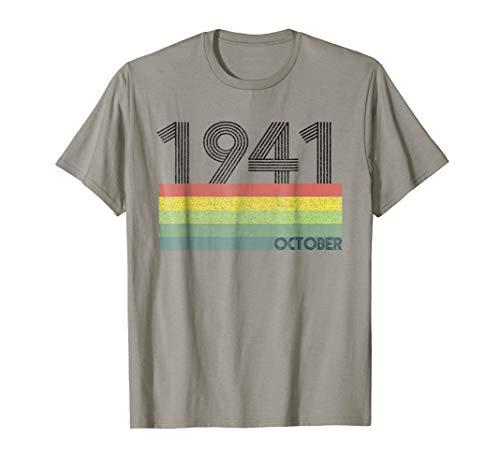 77th Birthday Gift Retro Born in October of 1941 T-shirt