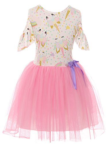 Big Girl Dress Kids Cold Shoulder Unicorn Mesh Summer Flower Girl Dress Pink 8 3XL (201406)