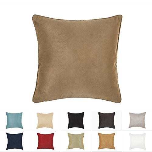 DreamHome 26 X 26 Inches Light Brown Color Faux Suede Decorative Euro Pillow Cover, Throw Pillow Case with Hidden Zipper, Super Soft High Quality Faux Suede On Both Sides