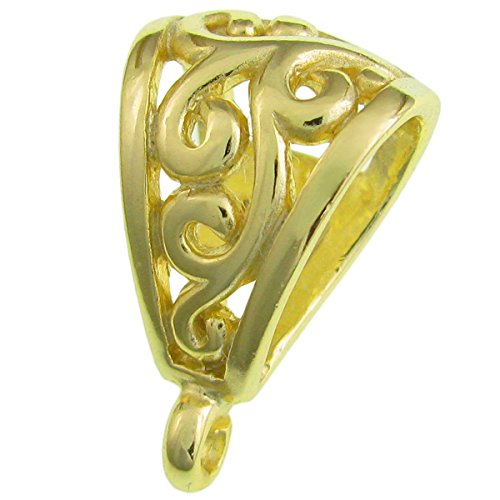 1 pc 14k Gold on .925 Sterling Silver Flower Bail Clasp Pendant Slide Connector / Findings / Yellow Gold 14k Yellow Gold Slide