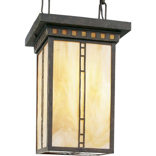 Progress Lighting P3613-46 3-Light Foyer with Light Honey Art Glass and Par or R20 Lamps, Weathered Bronze (Foyer Lamp Light Six)