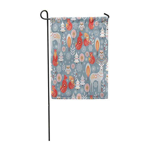 Semtomn Garden Flag 12x18 Inches Print On Two Side Polyester Christmas with Winter Forest Deer Owl and Fox The Scandinavian Style Nordic Home Yard Farm Fade Resistant Outdoor House Decor Flag ()