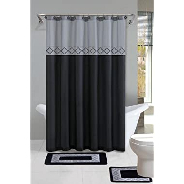 Home Dynamix DB15D-456 Designer Bath Polyester 15-Piece Bathroom Set, Gray/Black