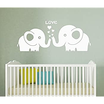 Amazoncom LUCKKYY Cute Three Family Elephant Wall Decals For Kid - Nursery wall decals elephant