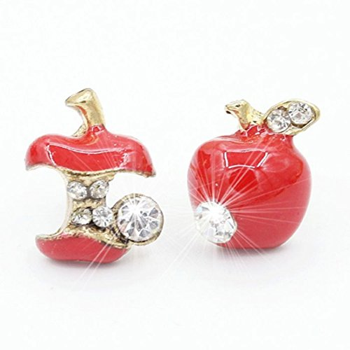 Red Asymmetrical Snow White Poison Apple Crystal Stud Earrings