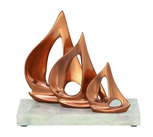 Deco 79 49680 Aluminum Marble Copper Sailboats Home Decor Product, 10