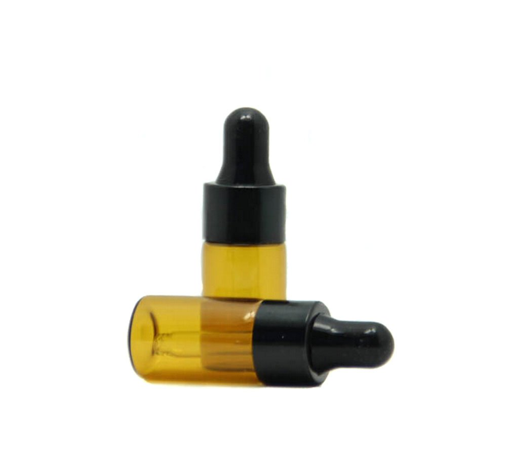 TOPWEL 3ml 10pcs Amber Glass Essential Oil Bottles and Eyed Dropper Black Caps (3ml)
