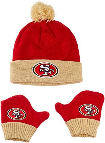 OTS NFL San Francisco 49Ers Pow Knit Cap & Mittens Set, Red, Infant