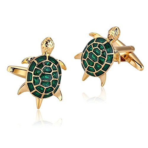 Adisaer Stainless Steel Shirt Cufflinks Gold Green Sea Turtles Wedding Cufflinks for mens Business Gift (Chicago White Sox Silver Coin)