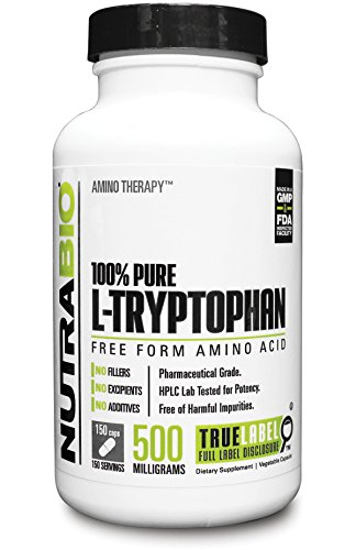 NutraBio 100 Pure L Tryptophan 500