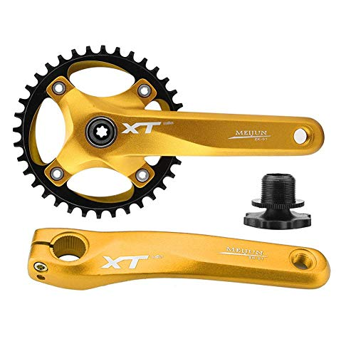 Integral Single - Vbestlife Single Speed Crankset, 104mm BCD Mountain Bike Aluminum Alloy Crankset Integral Single Speed Fixed Gear Track Bicycle Crankset Fixie Crank Set 170mm Crank Arms(Gold)