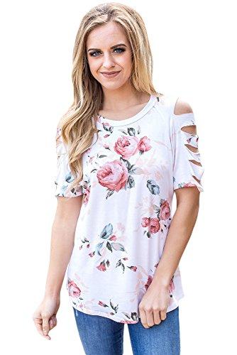 New Ladder ritaglio manica bianco camicetta estate camicia top casual Wear taglia UK 14EU 42