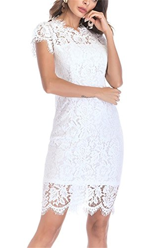 Women's Sleeveless Floral Lace Slim Evening Cocktail Mini Dress for Party DM261 (XL, White)