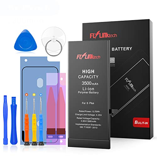 Flylinktech for iPhone 6 Plus Battery Replacement, 3500mAh High Capacity Li-ion Battery with Repair Tool Kit -Included 24 Months Warranty (Iphone 6 And Iphone 6 Plus Battery)