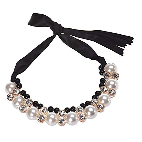 Tonsee Women Double Row Adjustable Band Chain Rhinestone Necklace Pearl (Black)