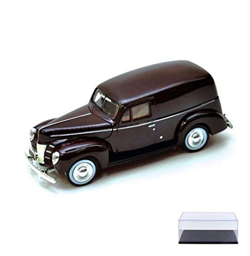 Diecast Car & Display Case Package - 1940 Ford Sedan Delivery, Burgundy - Motormax 73250 - 1/24 Scale Diecast Model Car w/Display Case