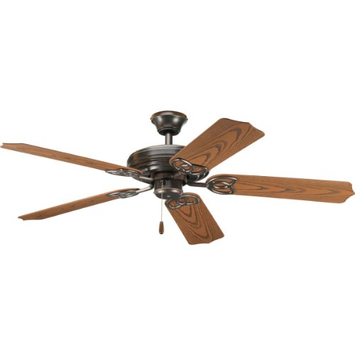 Progress Lighting P2502-20 52-Inch Indoor/Outdoor 5 Blade Fan with 3-Speed Reversible Motor and Abs Oak Blades, Antique Bronze