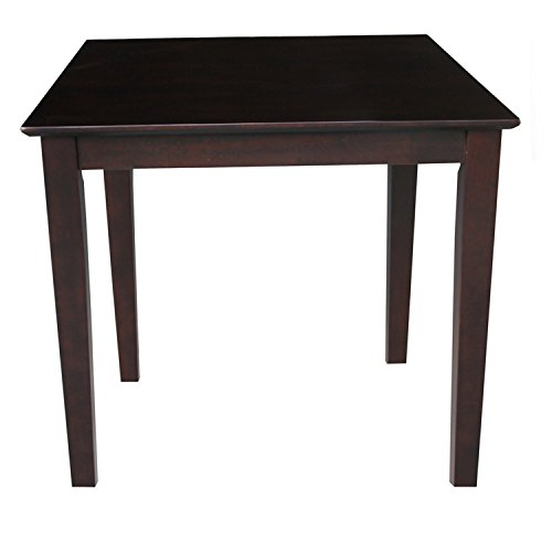 International Concepts Solid Wood Dining Table with Shaker Legs, Rich Mocha