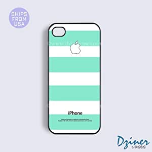 iPhone 6 Tough Case - 4.7 inch model - White Mint Green Stripes iPhone Cover