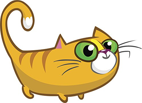 Eyed Kitty (Cute Green Eyed Orange Kitty Cat Cartoon - Standing Vinyl Sticker (8
