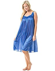 Casual Nights Women's Lightweight Satin Sleeveless Lace Nightgown