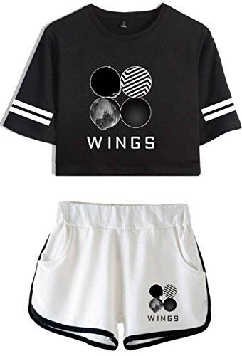 SERAPHY Bangtan Boys Clothes Crop Top T-Shirts and Shorts Suit for Girls and Women 885 Black-White M