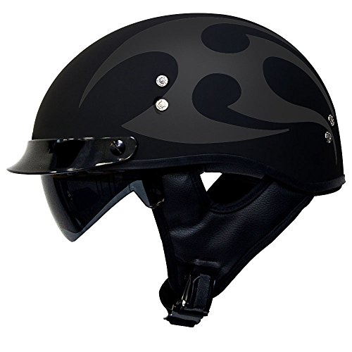 Voss 888FRP Matte Two Tone Tribal Low Profile DOT Half Helmet with Drop Down Sun Lens and Metal Quick Release for Cruiser Street Bike Men and Women - S - Two Tone Black