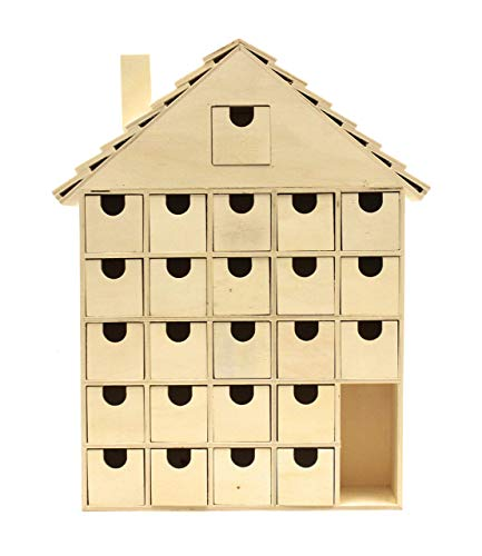 Christmas Advent Calendar 16 x 13 Inch with Drawers, Pre Assembled Ginger Bread House Shaped, Wooden Advent Calendar with Drawers, Ready to Decorate and Personalize, for DIY & Crafters by Woodpeckers