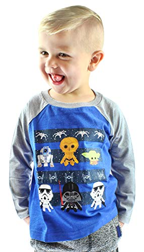Star Wars Shirt Kids Toddler Chibi Characters Raglan T-Shirt (3T) Blue