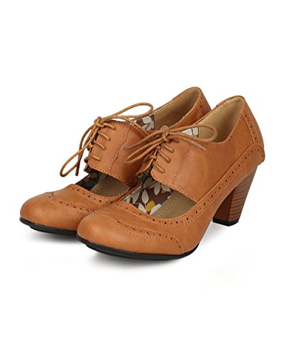 Refresh Women Leatherette Cut Out Lace Up Chunky Heel Spectator Pump CH01 - Tan Leatherette (Size: 7.0) by Refresh (Image #4)