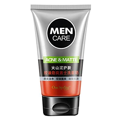 TONSEE Men's Face Wash Foam Scrub Facial Cleanser for Oily Skin Blackhead