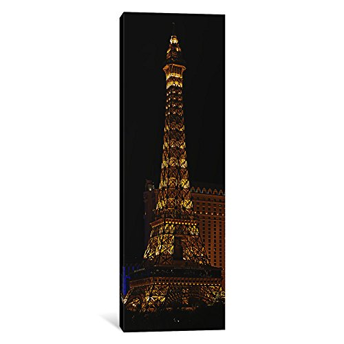 Vegas Tower Paris Eiffel Las (iCanvasART 1-Piece Replica of The Eiffel Tower Lit up at Night, Paris Las Vegas, Las Vegas, Nevada, USA Canvas Print by Panoramic Images, 1.5 by 12 by 36-Inch)
