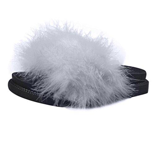 Fluffy Slipper Flip Flop On Grau Damen Slip Amcool P4ORI6c