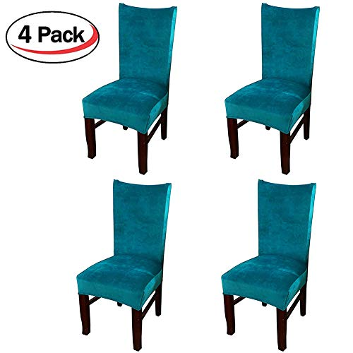 Smiry Velvet Stretch Dining Room Chair Covers Soft Removable Dining Chair Slipcovers Set of 4, Peacock Blue