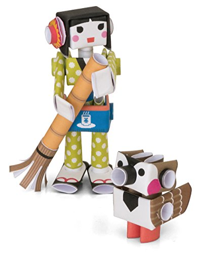 PIPEROID Hana & Suzu Paper Craft Robot kit from Japan - Waitress & Pet Sparrow ()