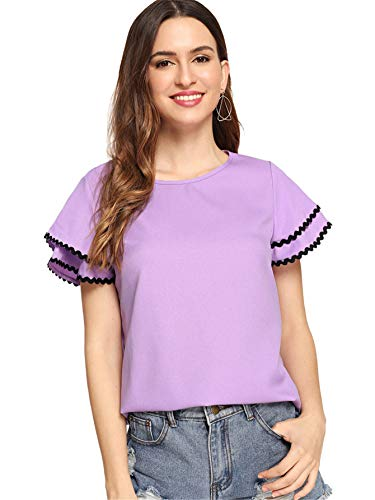 - Floerns Women's Layered Ruffle Lace Trim Short Sleeve Blouse Tops Purple L