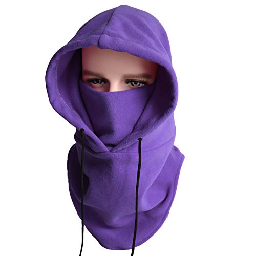 laclava Fleece Hood - Windproof Ski Mask - Cold Weather Face Mask Winter Hat - Running Ear Warmer - Motorcycle Helmet Liner Cycling Skull Cap Thermal Scarf Mask (Purple, one) ()