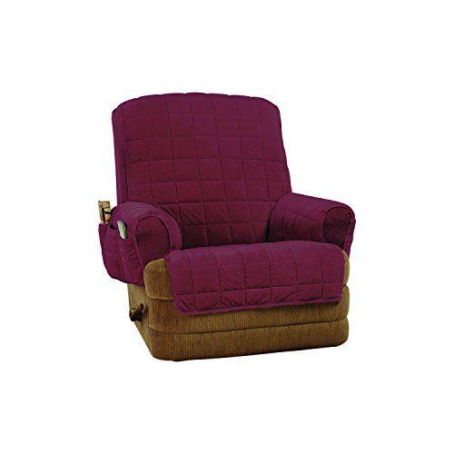 Sure Fit SF45425 Silky Touch Non-Slip Recliner Furniture Cover - Burgundy,Recliner